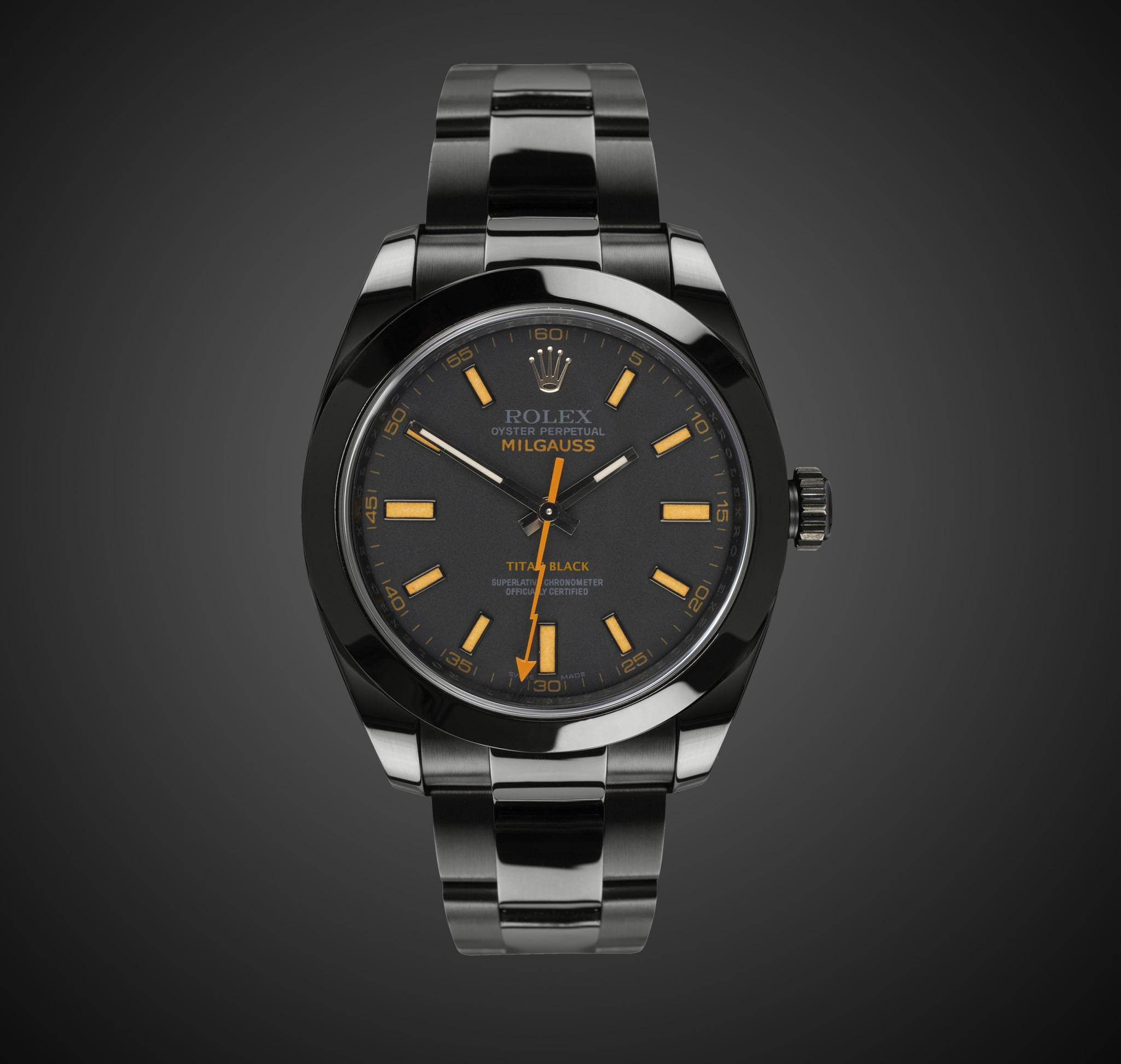 Rolex Milgauss Amber Titan Black