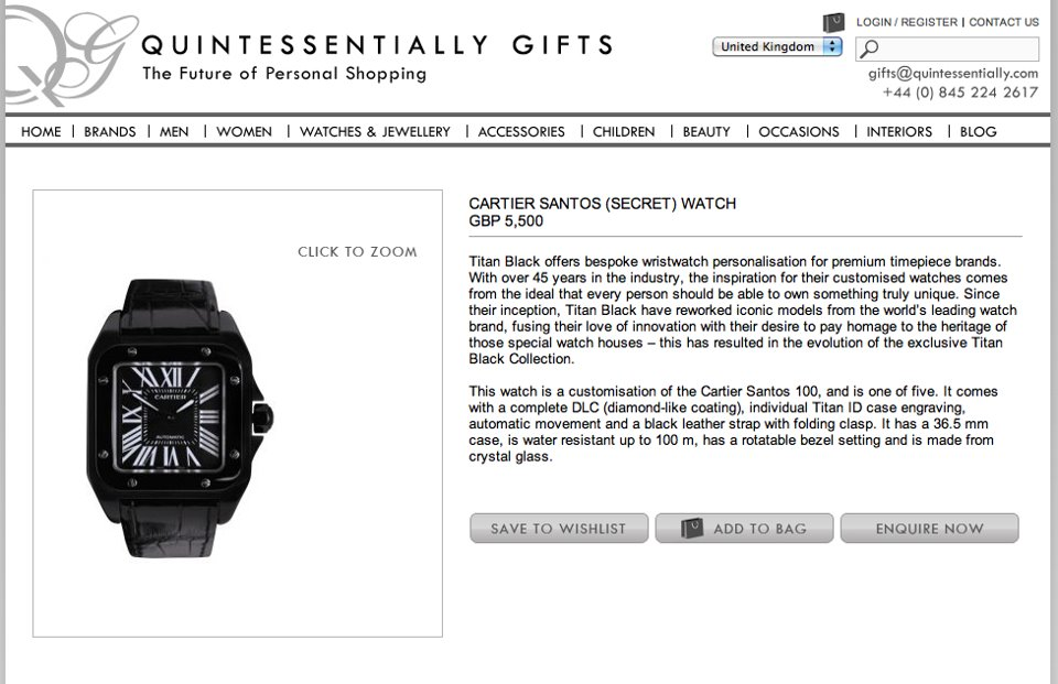 Recommended by Quintessentially Gifts! Titan Black Cartier Santos Secret