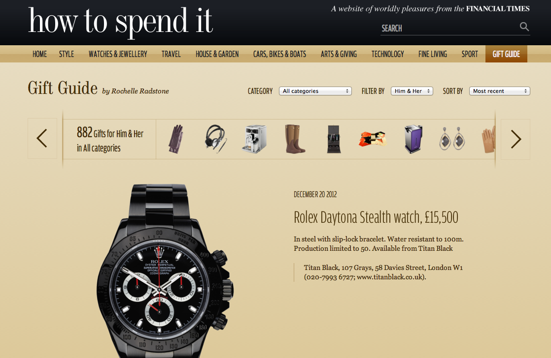 Titan Black Rolex Daytona (Stealth) Financial Times