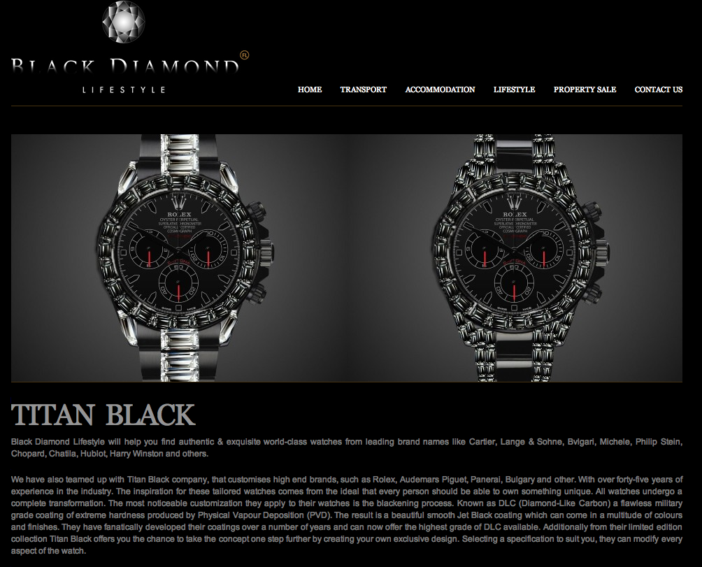 Titan Black black Rolex featured in Black Diamond Lifestyle