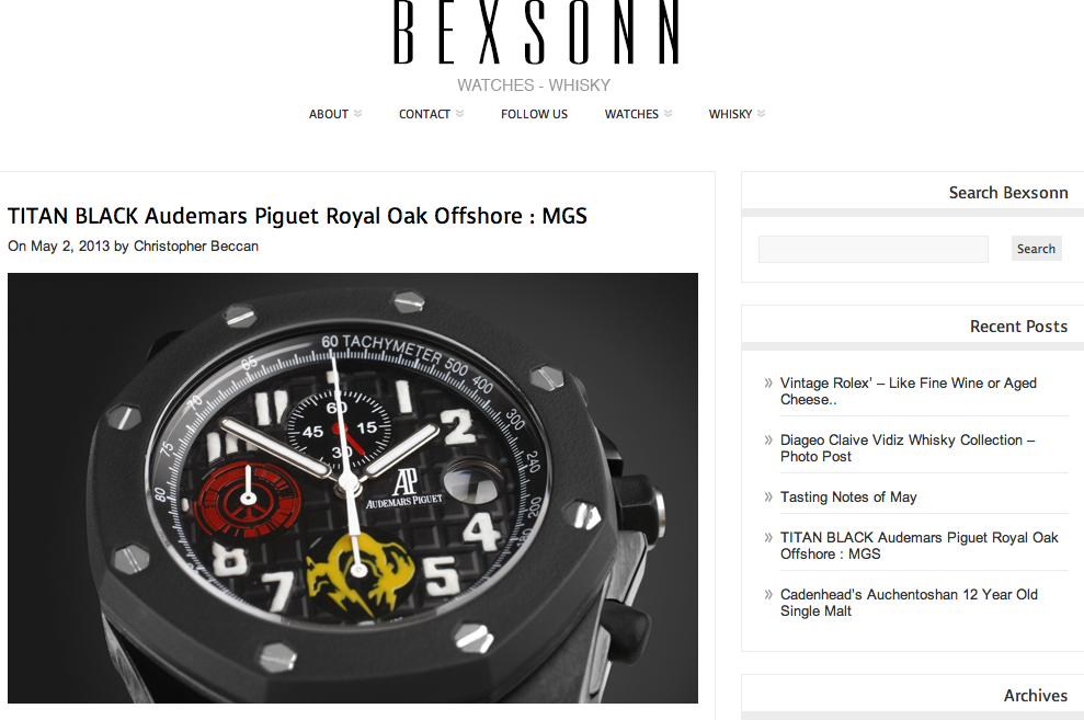 Titan Black Audemars Piguet: MGS Feature on Bexsonn Watch and Whisky Blog