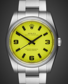 Rolex Oyster Perpetual Beach Collection Neon Yellow Titan Black Bespoke Design Own London MAB II finish