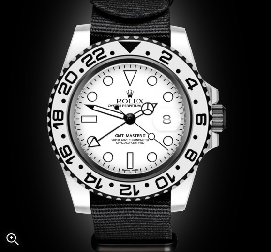 Rolex GMT Master II GMT II Monochrome White DLC Titan Black Bespoke Design