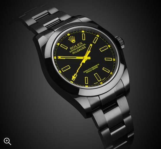 Rolex Milgauss Yellow Knight Black DLC Titan Black Bespoke Design