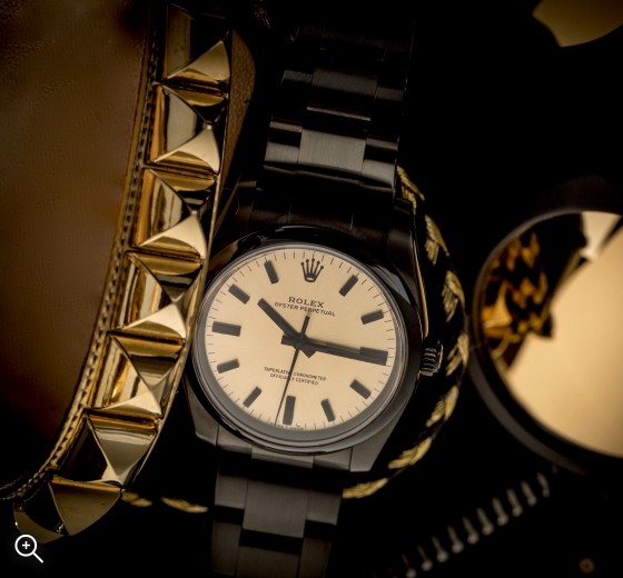 Rolex Oyster Perpetual Champagne Titan Black London Bespoke Watches