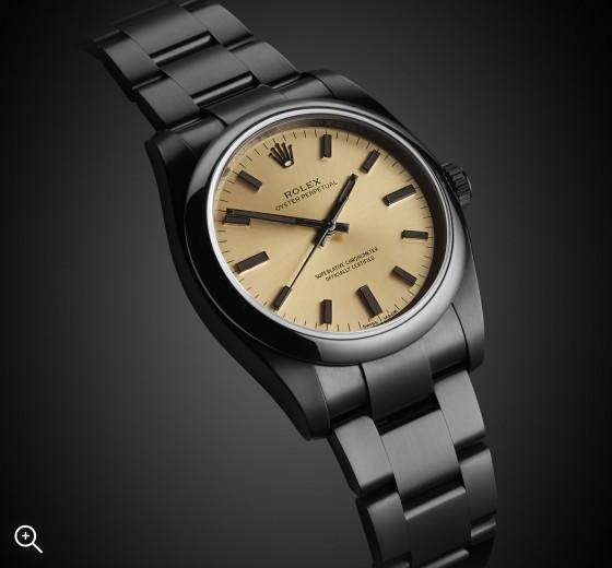 Rolex Oyster Perpetual Champagne Titan Black London Bespoke Watches