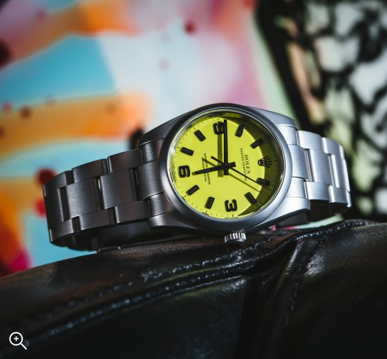 Rolex Oyster Perpetual Beach Collection Neon Yellow Titan Black Bespoke Design Own London  MAB II finish