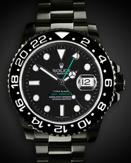 TITAN BLACK ROLEX GMT CERAMIC DLC PVD BLACK ROLEX