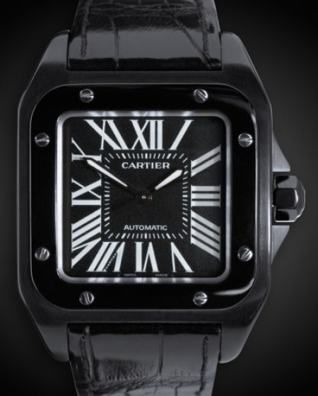TITAN BLACK Cartier Santos (Secret) DLC BLACK ROLEX