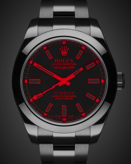 Rolex Milgauss Red Knight Black DLC Titan Black Bespoke Design