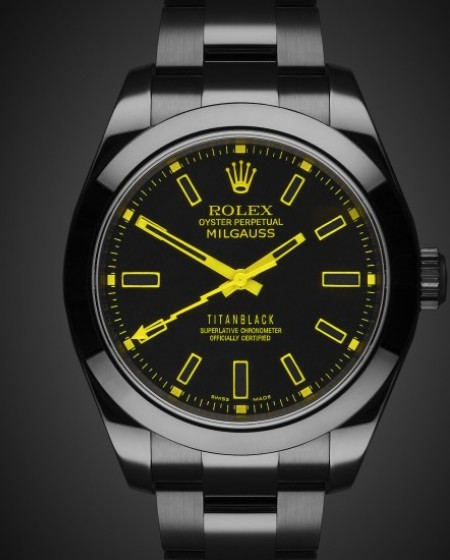 Rolex Milgauss Yellow Knight Black DLC Titan Black Bespoke Design