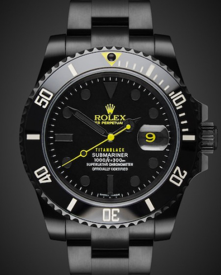 Titan Black Rolex Submariner Date Halo DLC Coating London Bespoke Design Watches